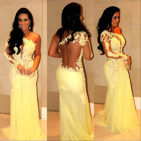 Yellow Lace Prom Dress, Long Sleeve Prom Dress, Long Prom Dress ...