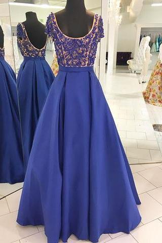 A-line royal blue beaded short sleeves long prom dress, 2017 formal ball dress, PD14986