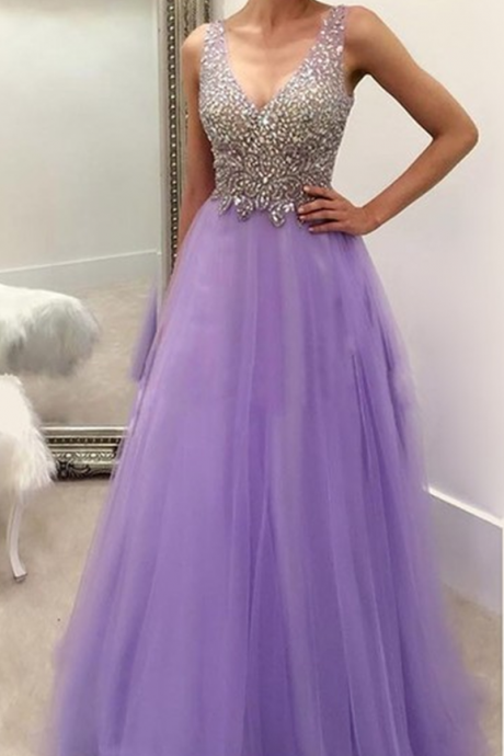A-line light purple tulle beaded v-neck long formal prom dress, PD15004