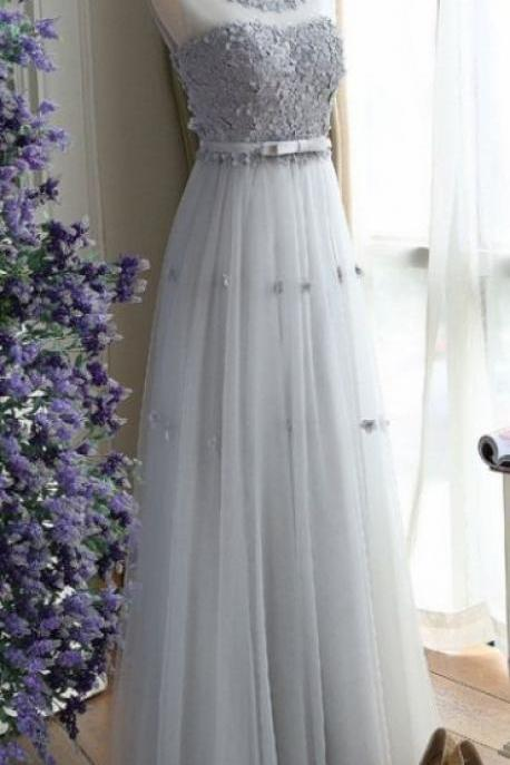 Gray tulle long senior prom dress, simple bridesmaid dress sexy prom dresses,evening gowns,PD14092