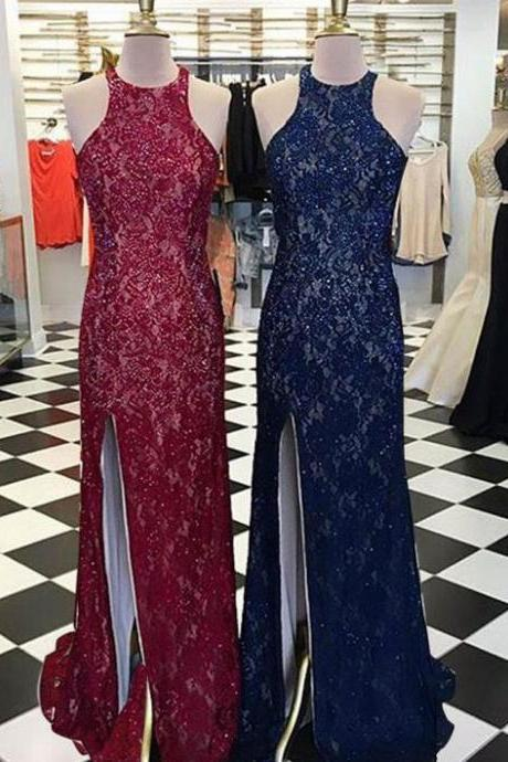 Burgundy/Navy Mermaid Lace Split Side Prom Dresses Evening Dresses,PD1411168