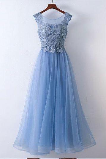 Elegant Ice Blue Floor Length Prom Dresses with Appliques,PD1411176