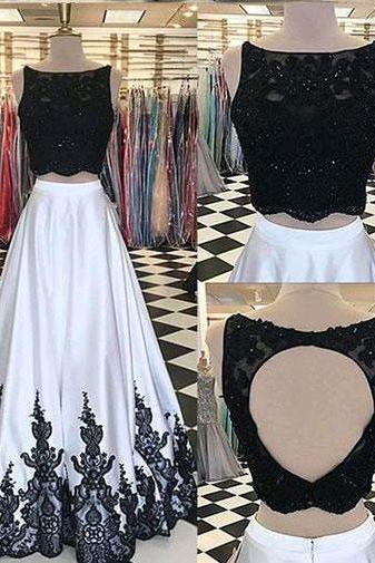 Sexy Two Piece Black Long Women's Prom Dresses with Appliques,PD1411184