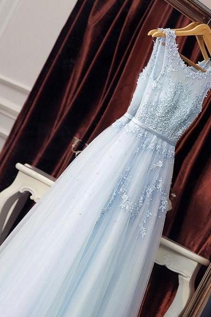 Elegant Light Sky Blue Tulle Long Prom Dresses with Appliques for Women,PD1411190