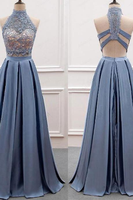 Sexy Two Piece Long Prom Dresses with Lace,PD1411193