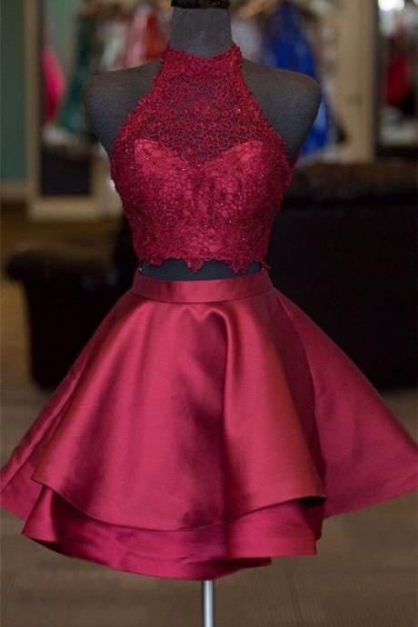 Sexy Two Piece Fuchsia/Dark Blue Short Prom Dresses Homecoming Dress,PD1411199