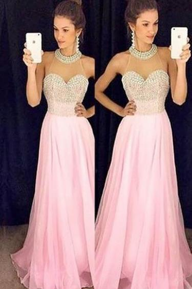 Charming Prom Dress,Sexy Evening Prom Dress,Pink Chiffon Prom Dress,Halter Prom Dress,PD17012