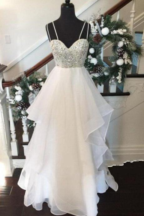 White Sweetheart Sequin Long Prom Dress, Evening Dresses,White Prom Dress,Formal Dress,Prom dresses 2016 ,PD17056