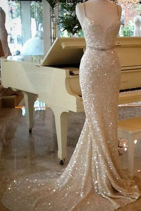 Shining Champagne Sequins Long Train Evening Dress, Prom Dresses,Champagne Prom Dresses, Sequins Evening Dresses, Party Dresses, Evening Dresses, Formal Dresses, Wedding Dresses,PD17077