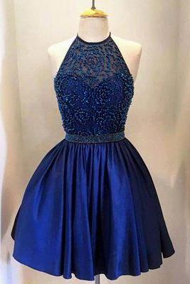 charming homecoming dress, beading homecoming dress, blue prom dress, halter short prom dress, party dress for girls, BD676