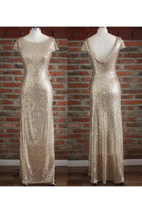 light gold sequin bridesmaid dress, long bridesmaid dress, cap sleeves bridesmaid Dress, sparkle bridesmaid dress, 2016 discount Bridesmaid Dress, BD2713