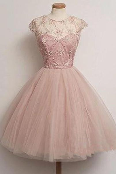 short Homecoming Dresses, blush pink tulle Prom Dresses, party Dresses for girls,prom dress for teens,Graduation Dress,discount prom dress online, BD14659